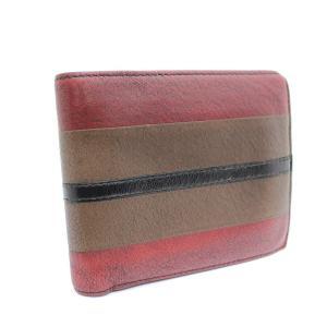 ボッテガヴェネタ 二つ折り財布 ユニセックス レザー ブラウン  レッド 中古 送料無料 brandeco