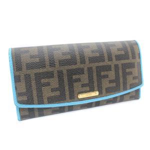 フェンディ ズッカ 三つ折り 長財布 レディース PVC レザー ブラウン ブルー 8M0326 中古 送料無料 brandeco