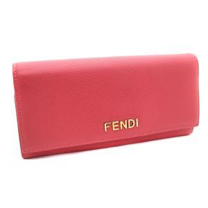フェンディ 二つ折り ロゴ 長財布 レディース レザー ピンク 8M0251 中古 送料無料 brandeco