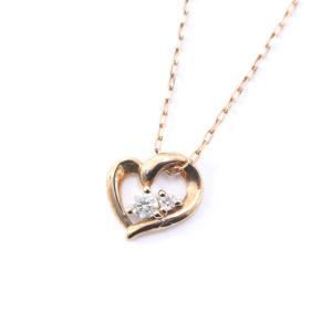 ヨンドシー ハート ネックレス レディース ダイヤモンド K10ピンクゴールド ジュエリー ゴールド 中古 送料無料|brandeco
