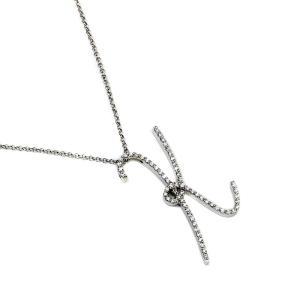 送料無料 新品仕上げ済み ポンテヴェキオ イニシャル K ダイヤモンド ペンダント ネックレス レディース K18WG 750 首飾り ホワイトゴールド ジュエリー 中古|brandeco