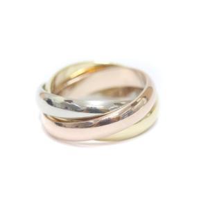 新品仕上げ済み カルティエ トリニティ 3連 リング・指輪 レディース K18イエローゴールド K18ピンクゴールド ジュエリー 11号 ゴールド シルバー 中古 送料無料 brandeco