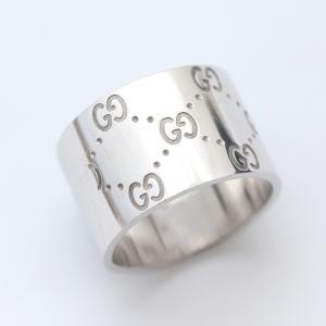 グッチ アイコン ワイド リング リング・指輪 メンズ K18ホワイトゴールド ジュエリー 19号 シルバー 中古 送料無料 brandeco