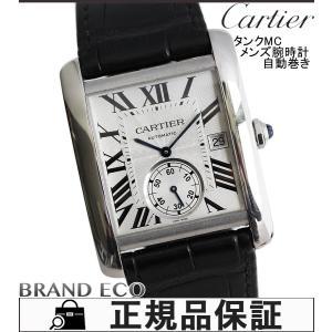 カルティエ タンクMC メンズ腕時計 自動巻き W5330003 レザーベルト シルバー文字盤 デイト表示 ブラック スケルトンバック ステンレス 中古|brandeco