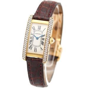 カルティエ タンクアメリカン レディース 腕時計 クォーツ WB701251 ダイヤモンド K18YG イエローゴールド レザーベルト ホワイト文字盤 中古|brandeco