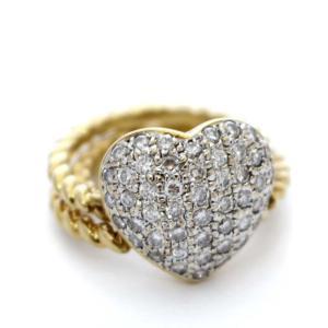 ポンテヴェキオ ハート リング・指輪 レディース K18イエローゴールド ダイヤモンド ジュエリー 9.5号 コンビ 中古 送料無料|brandeco