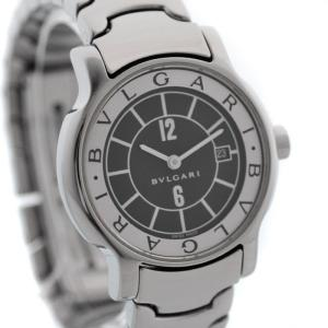 送料無料 ブルガリ ソロテンポ レディース 腕時計 クォーツ SS ステンレス シルバー ブラック文字盤 ウォッチ ST29S 中古|brandeco
