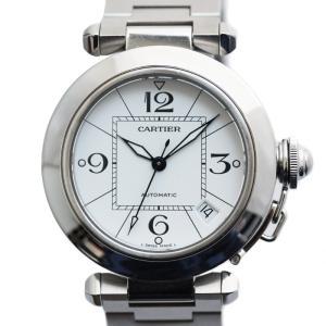 カルティエ パシャC ボーイズ腕時計 W31074M7 オートマ メンズ レディース 日付け表示 ステンレス シルバー ホワイト文字盤 中古|brandeco