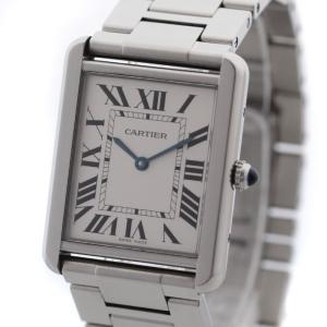 送料無料 カルティエ タンクソロLM メンズ 腕時計 クォーツ シルバー ステンレス ウォッチ W5200014 中古|brandeco