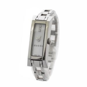 グッチ Gリンク 3ポイントダイヤ 腕時計 レディース クオーツ ホワイト文字盤 シルバー 110 中古 送料無料|brandeco