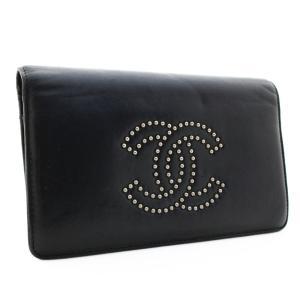 シャネル スタッズ ココマーク 二つ折り 長財布 レディース レザー ブラック 中古 送料無料|brandeco