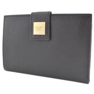 セリーヌ がま口 二つ折り財布 レディース レザー ブラック 中古 送料無料|brandeco