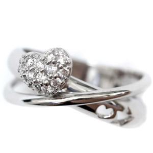 新品仕上げ済み ポンテヴェキオ ハート パヴェ リング・指輪 レディース K18ホワイトゴールド ダイヤモンド ジュエリー 8号 WG 中古 送料無料|brandeco