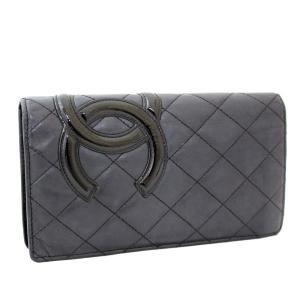 シャネル カンボンライン 二つ折り 長財布 レディース レザー ブラック A26717 中古 送料無料|brandeco