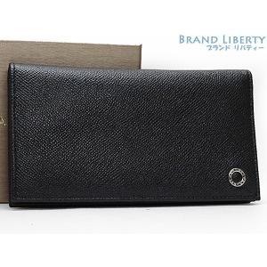 bf7e467a0e72 新古品 ブルガリ BVLGARI ブルガリブルガリ 二つ折り長財布 メンズ ブラック グレインレザー 30398