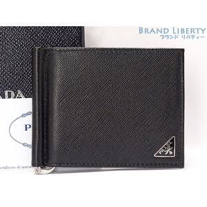 334139fc8120 新品 プラダ サフィアーノ トライアングル マネークリップ付き 二つ折り札入れ財布 コンパクト財布 ブラック レザー 2MN077