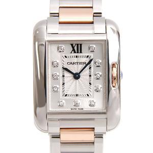 カルティエ/Cartier/SS×750PG/タンクアングレーズSM 11Pダイヤ/クォーツ/WT100024【中古】|brandmax