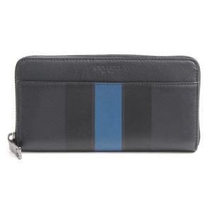 コーチ/COACH/カーフ/F75395/ラウンドファスナー長財布/ネイビー ブルー×ブラックストライプ【未使用展示品】|brandmax