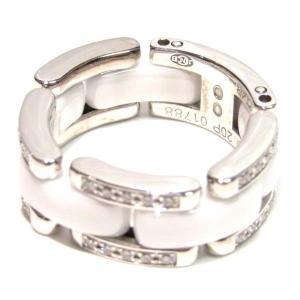 35aad81bec66 シャネル ウルトラリング 指輪 ホワイト×シルバー×クリアー K18WG(750) ホワイトゴールド×セラミック×ダイヤモンド20P ランクA