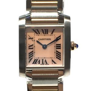カルティエ タンクフランセーズSM 腕時計 ウォッチ シルバー×ゴールド×ピンク ステンレススチール...