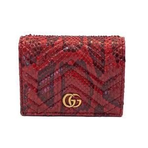 グッチ GGマーモント 二つ折り財布 財布 レッド レザー x パイソン 466492 ランクA brandoff