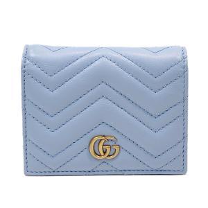 グッチ GGマーモント カードケース 二つ折り 財布 財布 ライトブルー レザー 443125 ランクA brandoff
