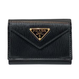 プラダ コンパクト財布 財布 ブラック × ゴールド  レザー 1MH021 ランクA|brandoff