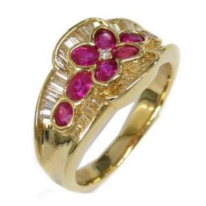 ジュエリー ルビーダイヤモンド リング 指輪 ルビー1.07/ダイヤモンド0.59ct x K18(イエローゴールド)  ランクA 18号|brandoff