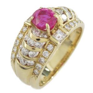 ジュエリー ルビーダイヤモンド リング 指輪 ルビー0.76 x ダイヤモンド0.92ct x K18(イエローゴールド)  ランクA 10号|brandoff