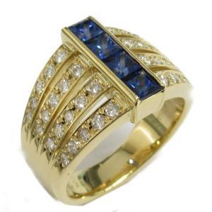 ジュエリー サファイアダイヤモンド リング 指輪 サファイア0.50 x ダイヤモンド0.43ct x K18(イエローゴールド)  ランクA 11号|brandoff