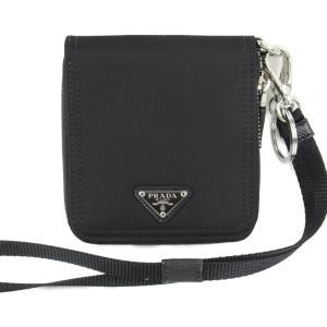 プラダ トライアングルロゴ・ネックストラップ付き ラウンド財布 財布 ブラック ナイロン 2ML221074F0002 新品 brandoff