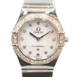 オメガ コンステレーション アイリス ベゼルダイヤ/12Pカラーストーン ウォッチ 腕時計 シルバーxピンクゴールド 1368.79 ランクA|brandoff