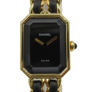 シャネル プルミエールM ウォッチ 腕時計 ゴールド レザーベルトxGP(ゴールドメッキ) H0001 ランクA|brandoff