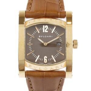 ブルガリ アショーマ 腕時計 ウォッチ ブラウン レザーベルトxK18PG(750)ピンクゴールド AAP39G ランクA|brandoff