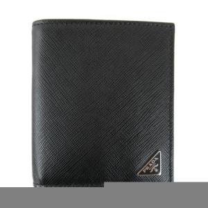 プラダ SLG サフィアーノ 二つ折り財布 札入れ 財布 ブラック サフィアーノレザー 2MO004QHHF0002 新品|brandoff