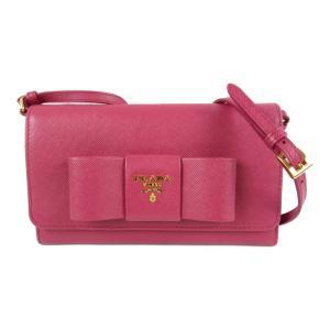 プラダ ショルダーウォレット ショルダーバッグ 二つ折り長財布 ピンク サフィアーノレザー 1M1437 ランクA|brandoff