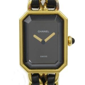 シャネル プルミエールL ウォッチ 腕時計 ブラック GP x レザーベルト  ランクA|brandoff