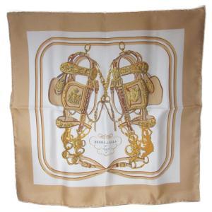 エルメス ミニスカーフ45 ベージュxゴールドxホワイト シルク100%  ランクA|brandoff