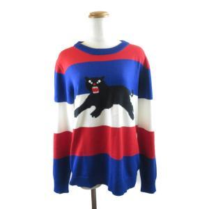 グッチ Men's セーター レッド x ブルー x ホワイト コットン x アクリル  ランクB|brandoff
