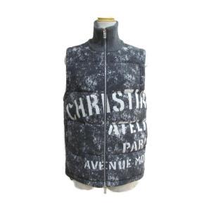 クリスチャン・ディオール ダウン ベスト MEN'S グレー×ホワイト コットン/中綿:ポリエステル 043J400A0664 ランクA|brandoff