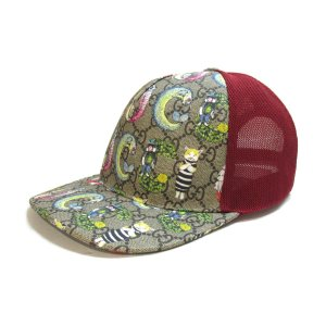 グッチ キャップ 帽子 グレー×マルチカラー コットン×ポリウレタン  未使用品 brandoff
