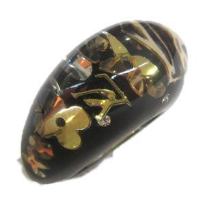 ルイヴィトン バーグ・アンクルージョンリング 指輪 ブラック x ゴールド プラスチック  ランクA 16号|brandoff