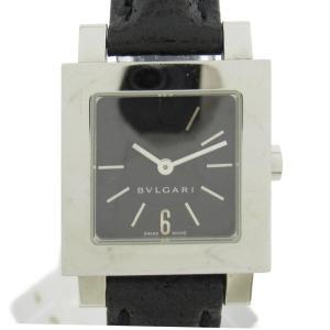ブルガリ クアドラード ウォッチ 腕時計 ブラック ステンレススチール(SS)xレザーベルト SQ22SL ランクB|brandoff