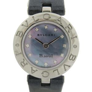 ブルガリ B-zero1 12Pダイヤ ビーゼロワン ウォッチ 腕時計 シルバー ステンレススチール(SS) x レザーベルト BZ22S ランクA|brandoff