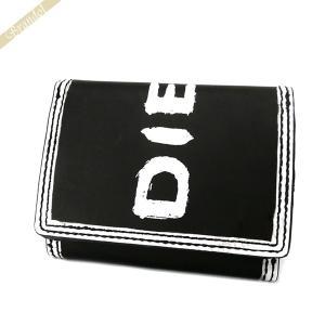 〈クーポン配布中〉ディーゼル DIESEL メンズ 三つ折り財布 ロゴ LORETTA ミニ財布 レザー ブラック×ホワイト X06437 P0286 H1532|brandol-s