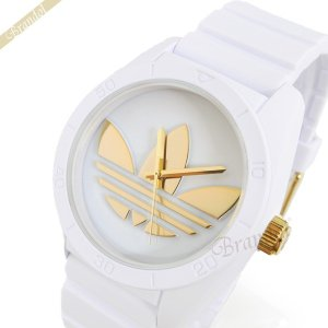 アディダス adidas メンズ腕時計 アディダスオリジナルス サンティアゴ 42mm ホワイト×ゴールド ADH2917|brandol