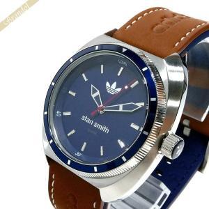 アディダス adidas メンズ・レディース 腕時計 アディダスオリジナルス STAN SMITH スタンスミス 42mm ネイビー×ブラウン ADH3006 [在庫品]|brandol
