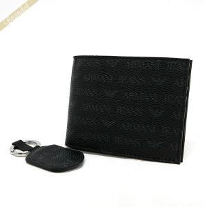 アルマーニジーンズ ARMANI JEANS メンズ 二つ折り財布 キーリングセット ブラック 937502 CC996 00020 NERO [在庫品]|brandol