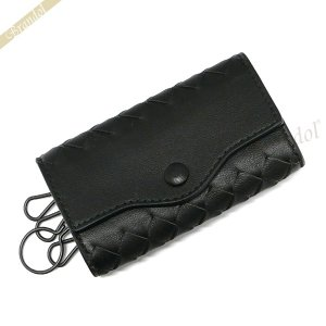 ボッテガヴェネタ BOTTEGA VENETA キーケース メンズ イントレチャート 革編み レザー ブラック 339336-V001N 1000|brandol