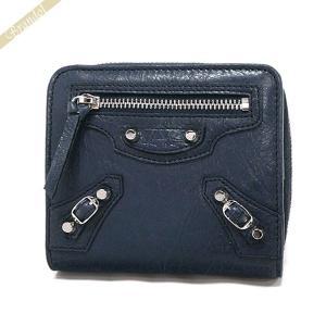 バレンシアガ Balenciaga 財布 レディース 二つ折り財布 クラシック ウォレット レザー ネイビー 310699 D940N 4030 [在庫品]|brandol